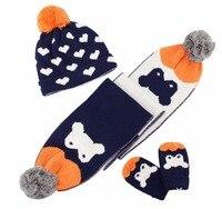2017 Winter Baby Hat Scarf Gloves Set Neck Warmer Cap For Boys Girls Kids Crochet Knitted