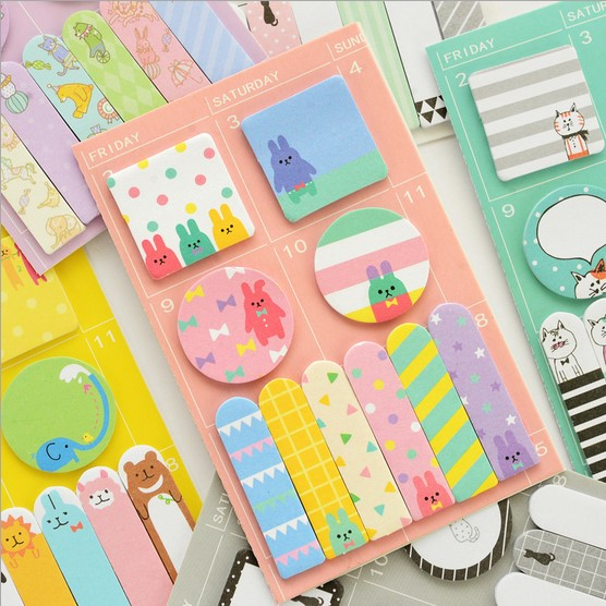 1PCS Korean Cat Rabbit Sheep Stationery Memo Pad Week Plan Memo Sticky Note Set Agenda Sticker Office School Supplies 2018 pet transparent sticky notes and memo pad self adhesiv memo pad colored post sticker papelaria office school supplies