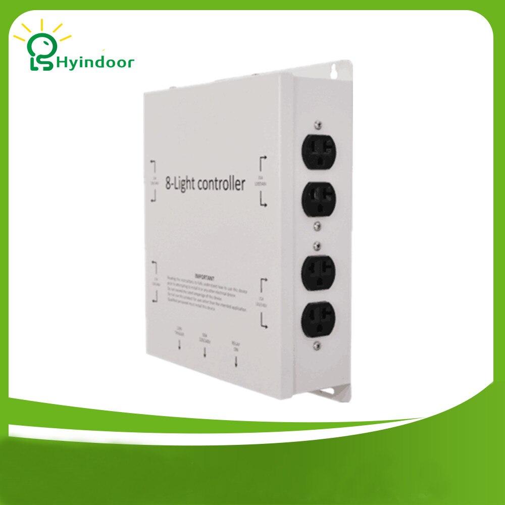 120 V USA standard 8 sorties contacteur de contrôleur de lumière/boîte de minuterie de puissance légère de qualité industrielle pour la culture hydroponique