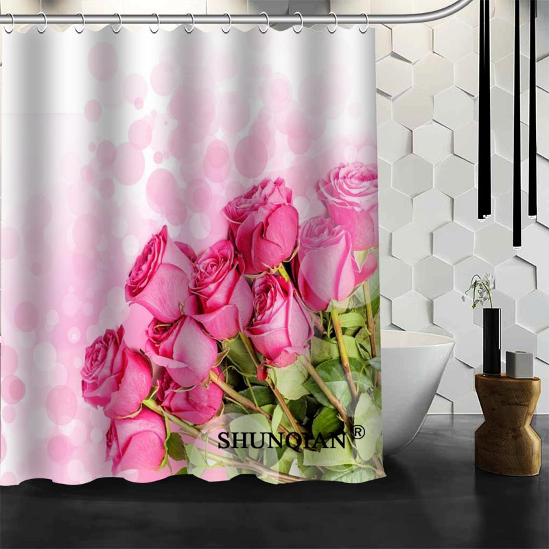 Aliexpress.com : Buy pink flower Shower Curtain High Quality Bath ...