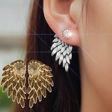 2017 Women's Angel Wings Rhinestone Inlaid Alloy Ear Studs Party Jewelry Earrings free shipping E640