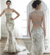 Luxury Scoop Sleeveless Beading Appliques Sexy Open Back Lace Wedding Dress Mermaid Dresses 2019 Vestidos De Novia MK-33