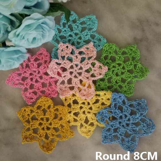 1PC Retro Cotton Crochet Doily 8cm Placemats Small Flowers Coaster Kitchen Placemat Mug Cup Mat Pad Table Decoration Accessories