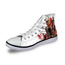 63122ea230 Customized Men s Vulcanized Shoes Cool Super Hero Deadpool Printed High top  Lace Up Classic Canvas Shoes