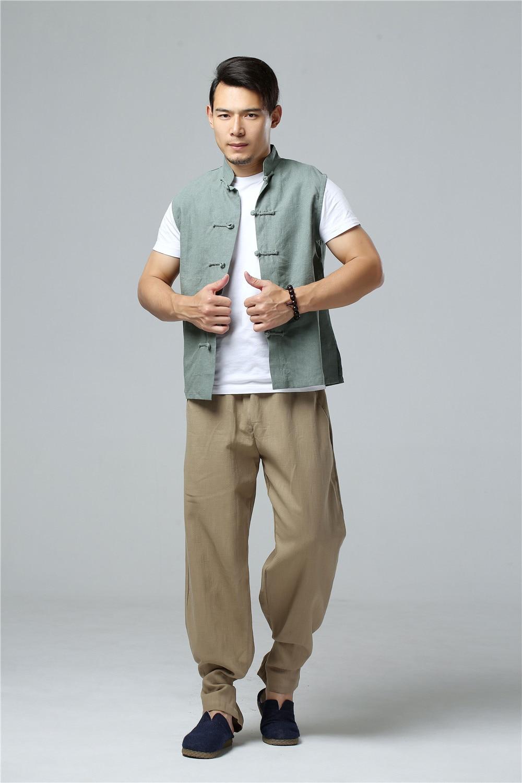 LZJN 2019 Men's Summer Waistcoat Chinese Style Vintage Breathable Linen Button Down Kung Fu Shirt Sleeveless Vest Jacket  (24)