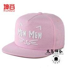2016 довольно женщина шляпа летом приток корейских женщин мило письмо кошка шаблон бейсболка snapback любителей хип-хопа