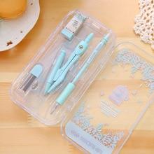 Милый Kawai компасы набор с линейкой ластик механический карандаш и Заправка для рисования корейский Канцтовары офисный школьный принадлежности