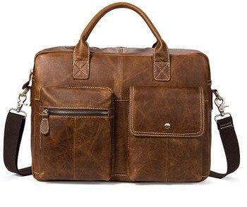 New men's handbag cross section briefcase business laptop bag retro shoulder Messenger bag Briefcases
