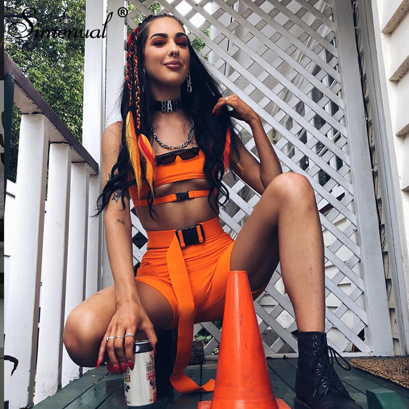 Simenual Streetwear Buckle Sexy Hot Two Piece Sets Women Cut Out Neon Color Outfits Casual Summer Biker Shorts And Top Sets 2019