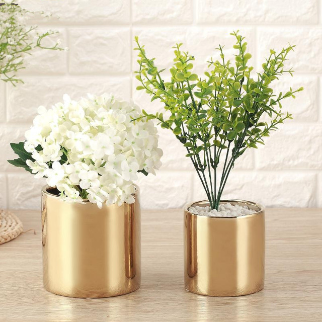 Modern Ceramic Flower Vase Plating Gold Silver Ceramic Vase Planting Flowers Pot Aristocratic