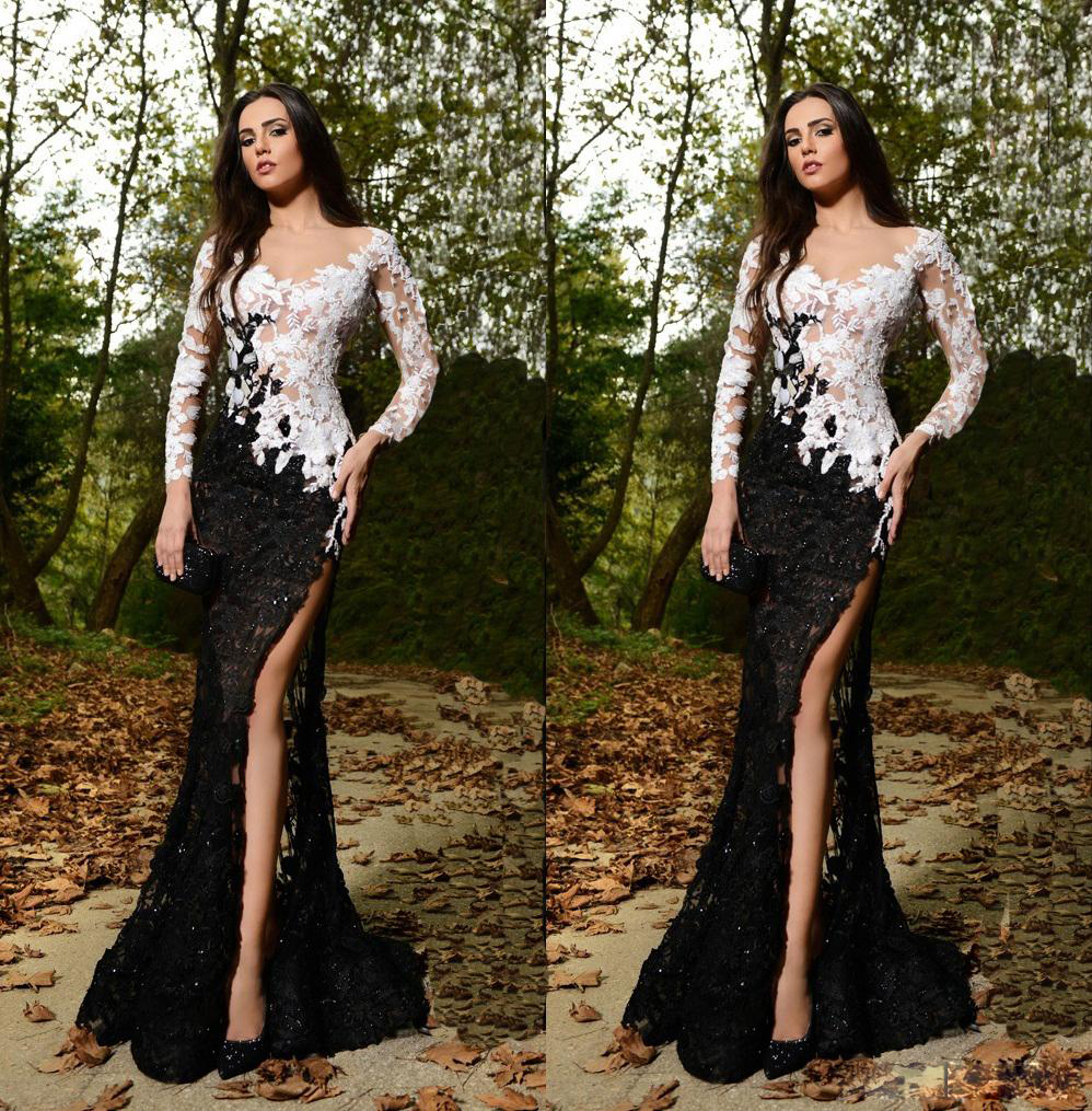 44d2ae97c363 Sexy Evening Dresses Black And White Lace Vestido De Festa Long Sleeve Side  Slit Sweep Train Formal Party Dress ZX1157