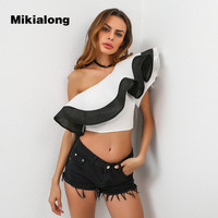Mikialong 2017 Sexy One Off Shoulder Ruffle Blouses Women Black And White Contrast Crop Tops Women