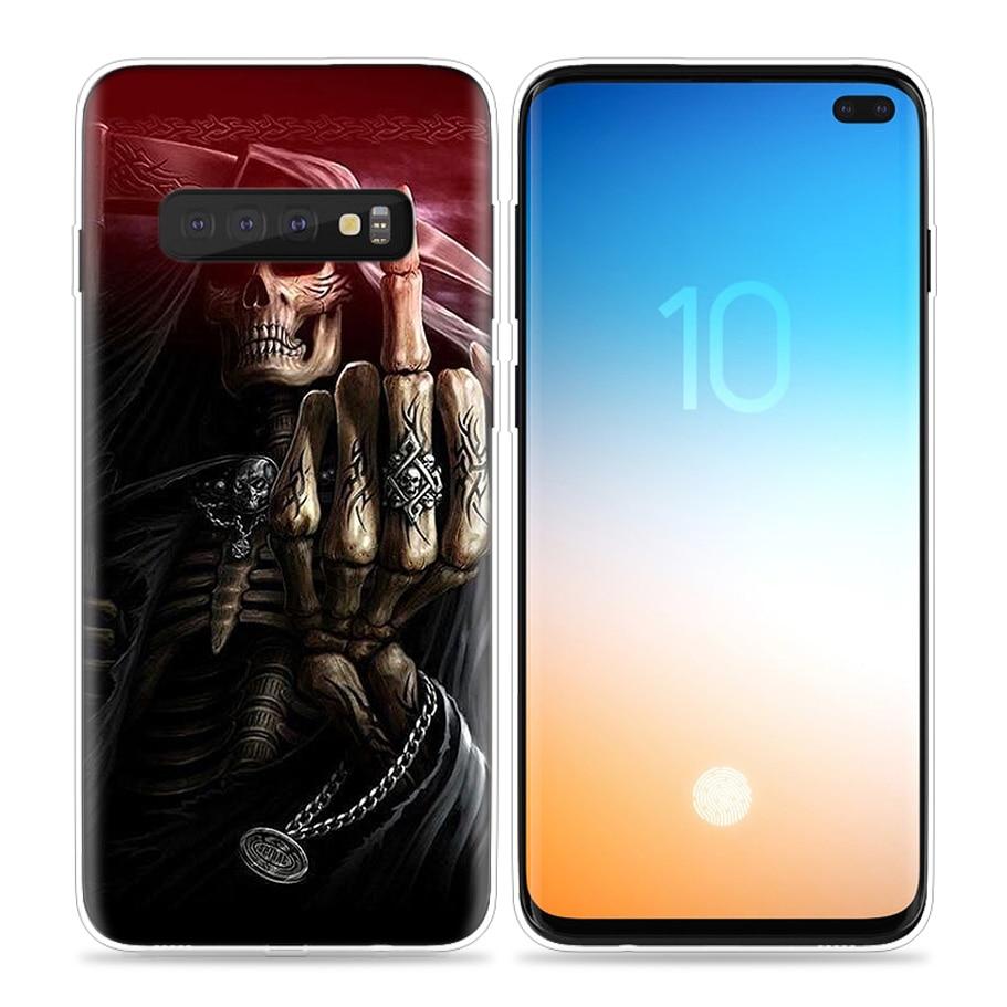 מקרן קיר Reaper גולגולת שלד Case Grim עבור הערה 5G גלקסי S10 סמסונג S10e S8 S9 S7 8 9 10 J4 J6 פלוס J8 2018 תיקים טלפון סיליקון כיסוי (2)