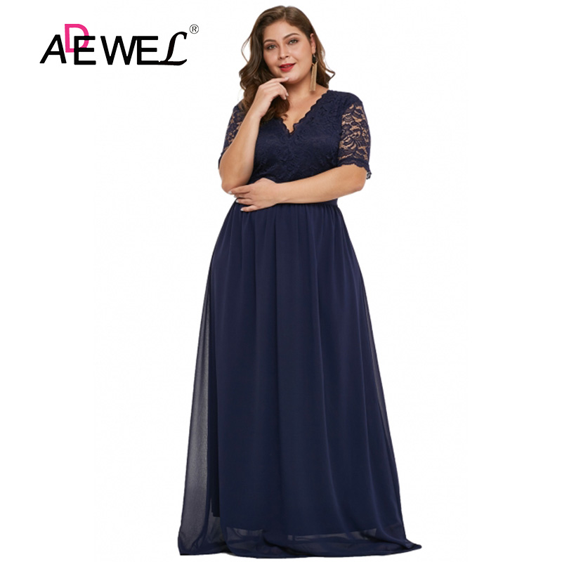 ADEWE <font><b>Sexy</b></font> Elegant Plus size Women's Chiffon Party Long <font><b>Dress</b></font> V-neck Half Sleeve Floor Length Lace Evening Gowns <font><b>Dresses</b></font> <font><b>5XL</b></font> image