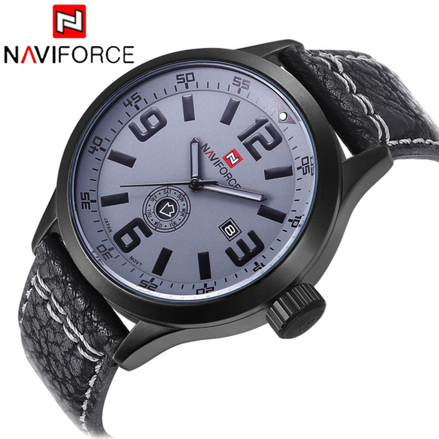 NAVIFORCE Luxury Brand Watches Men Sports Waterproof Army Military Analog Business Quartz Watches Mens Leather Wristwatches LX27