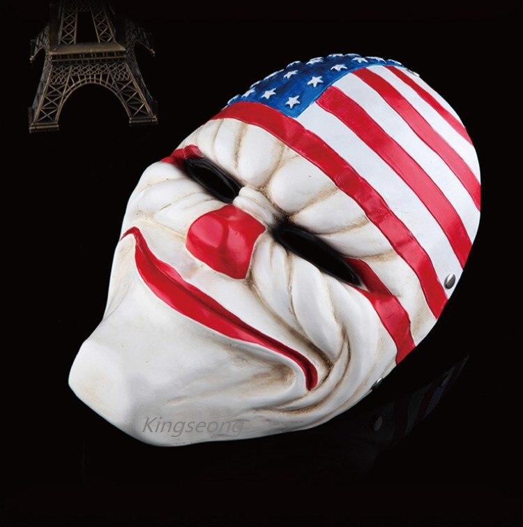 (1 PC/Lot) en gros 100% Top Grade résine effrayant Clown masque Payday 2 Halloween USA Stag masque pour Antifaz fête Mascara Carnaval