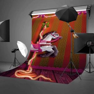 Image 2 - 5x7ft 회전 목마 배경 행복 회전 목마 어린이 파티 사진 배경 및 스튜디오 사진 배경 소품