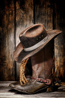 TOP ART WORK Painting American West Culture Cowboy Hat Boot Print Oil Painting On Canvas Accept