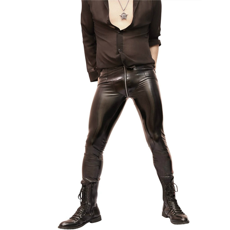 Men's real leather pants double zips pants gay interest fetish kink breeches sex