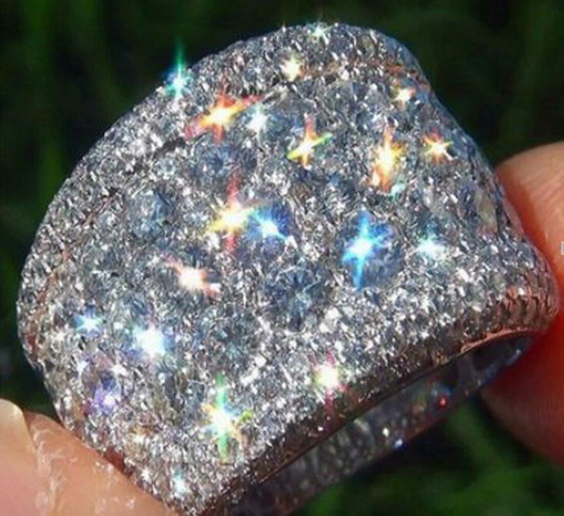 Fashion Big Silver CZ Zircon Stone Rings
