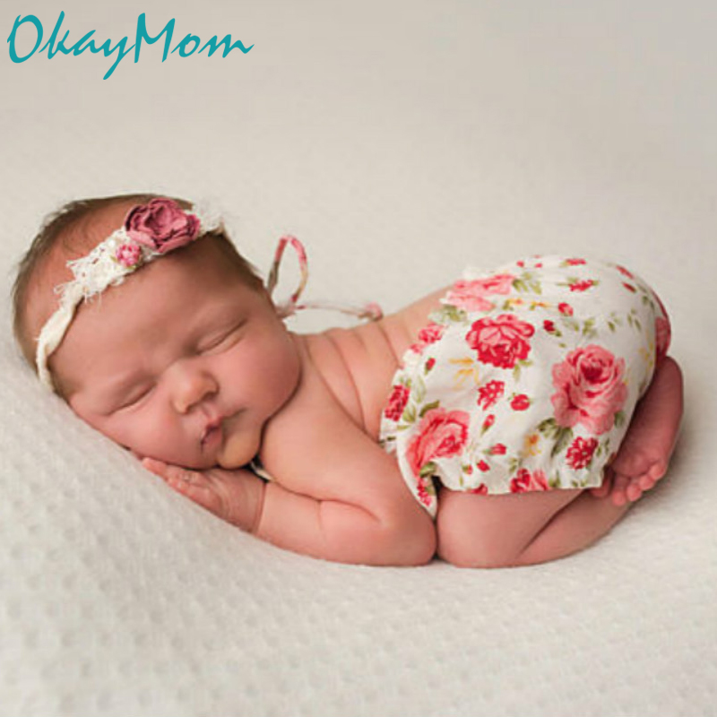 OkayMom Newborn Photography Props INS HOT Flower Baby Hat Romper Infant Photo Shoot Clothing Baby Girl Outfit Costumes For 0-3M
