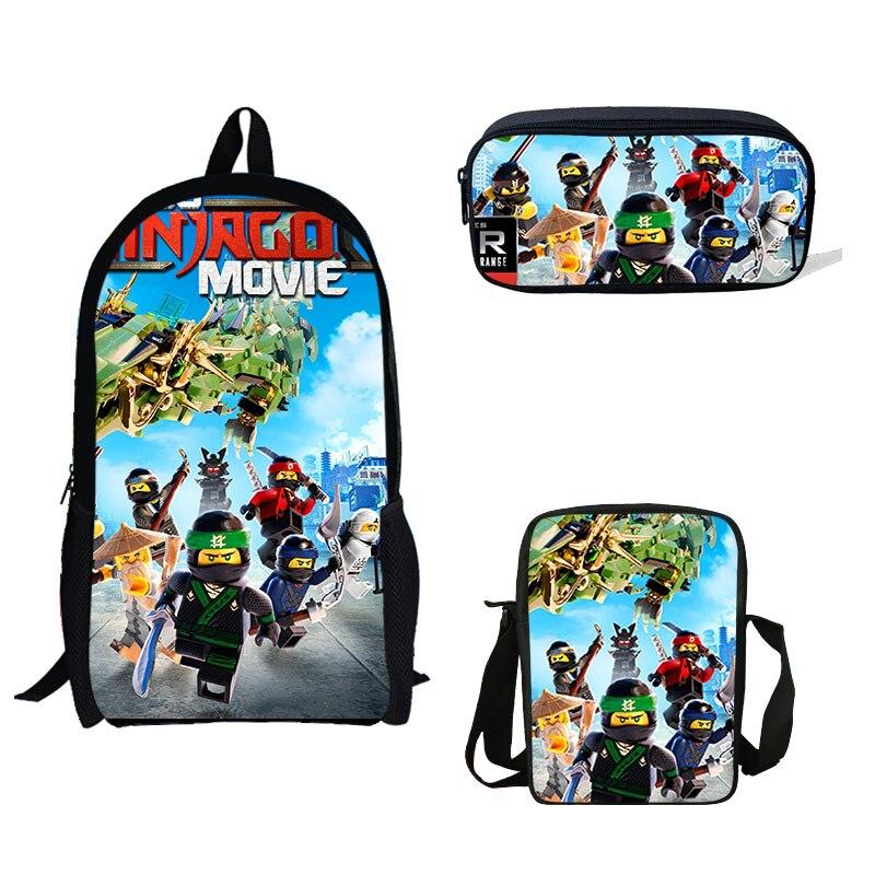 16 inch Japanese Ninjago Set Print School Bag Set For Teenager Boys Mini Shoulder Backpack Girls