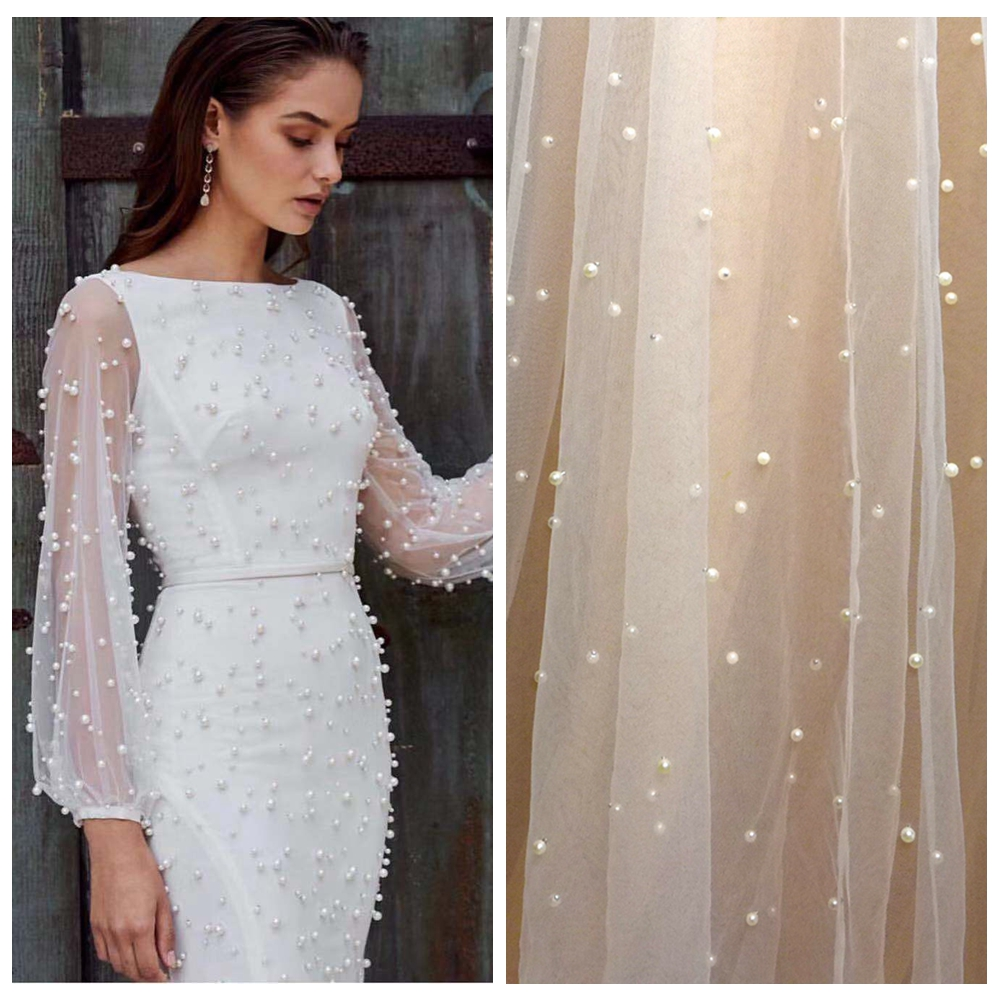 5yards Hot selling off white pearls on net mesh embroidery evening show dress lace fabric
