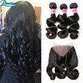 Malaysian Loose Wave Virgin Hair With Closure 3 Bundles With Frontal Closure 360 Lace Frontal Closure With Bundles 360 Lace Band