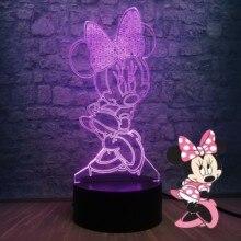 3D LED Đèn Phòng Ngủ Minnie Mickey Thời Bàn Đèn Ngủ 7 Màu Thay Đổi Đế Đèn Cho Bé Trang Trí Phòng Ngủ Trẻ Em Thả vận Chuyển