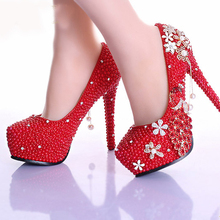 Elegant 5 Inches High Heel Diamond Woman Pumps Prom Shoes Luxury Red Pearl Rhinestone Wedding Shoes Handmade Bridal Shoes