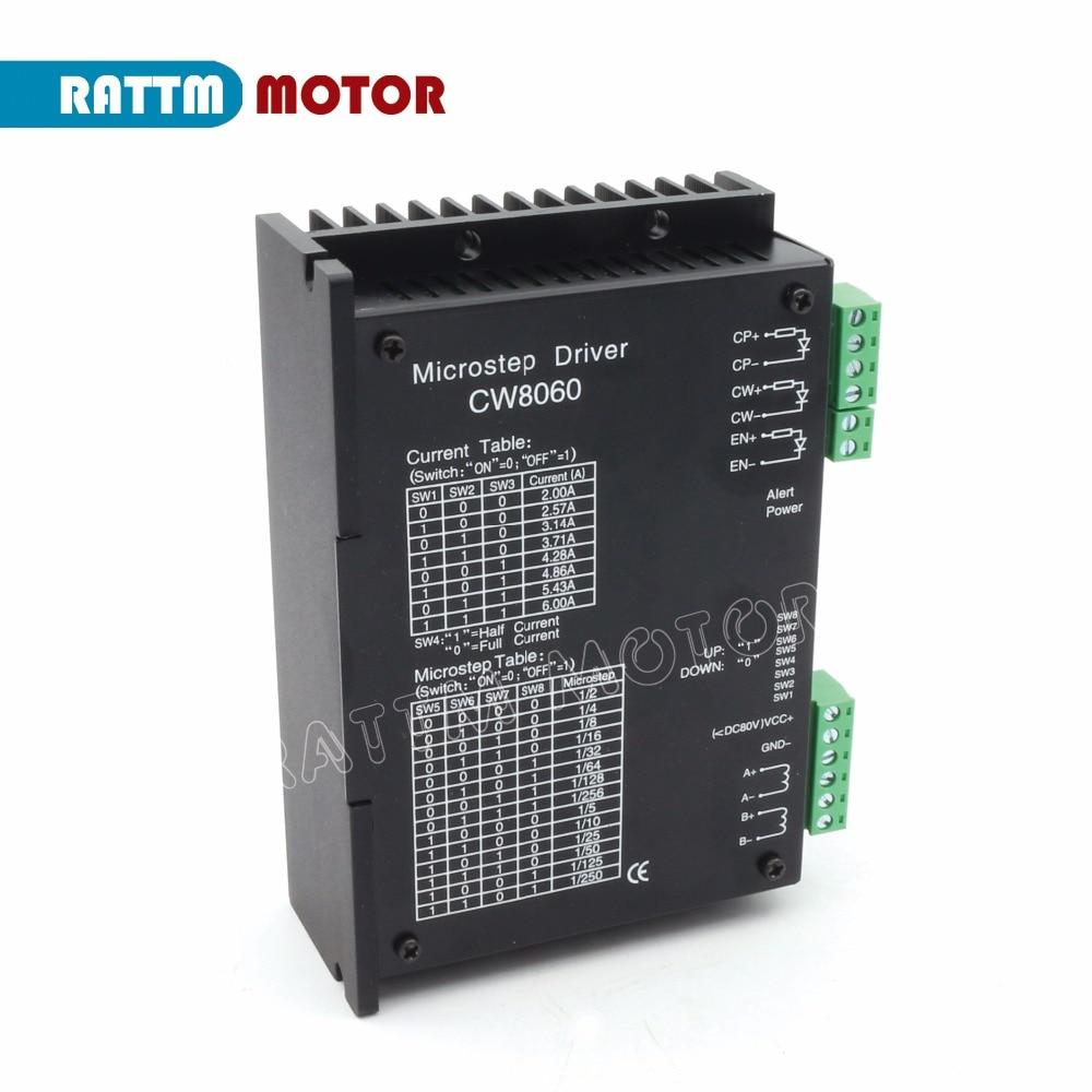 EU Delivery! CW8060 Stepper Motor Driver 80VDC/6A/256 Microstep for CNC Router Mill For Nema23,34 Stepper motor From RATTM MOTOR cw8060 stepper motor driver 80vdc 6a 256 microstep for cnc router for nema23 34 stepper motor
