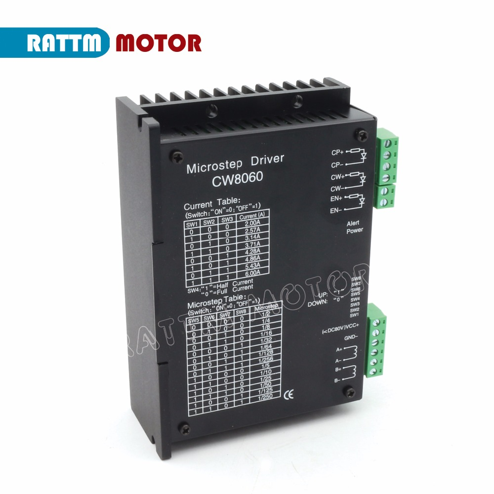 цена Ukraine/ EU Delivery! CW8060 Stepper Motor Driver 80VDC/6A/256 Microstep for CNC Router Mill For Nema23,34 Stepper motor
