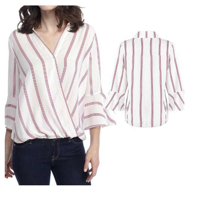 Striped women's shirt sexy skew collar 긴 sleeve 여성스러운 blouse 2019 봄 summer 캐주얼 탑 암 2xl