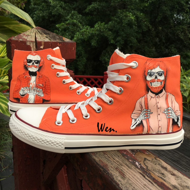 Wen Original Design Red Hair with Sunglasses Trendy Males Skeletons Hand Painted Skate Shoes High Canvas Sneakers for Men Boys