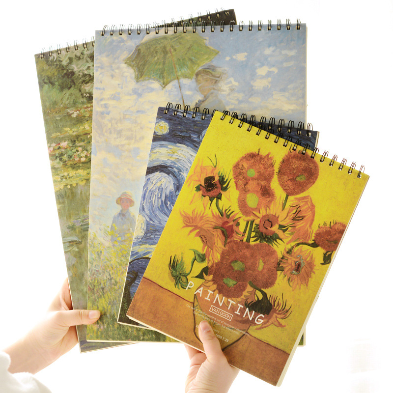 A3 A4 Large Big Vincent Van Gogh Art Case Watercolor Hard Cover Drawing Sketchbook Watercolor Sketch Book Notebook цена 2017