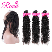 Rcmei Pre Plucked 360 Lace Frontal with Bundle Kinky Curly Brazilian Human Hair Weave 3 Bundles with 360Frontal Closure Non remy