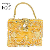 Boutique De FGG Orange Acrylic Crystal Flower Women Fashion Shoulder Handbag Hardcase Evening Box Clutch Crossbody Totes Bag