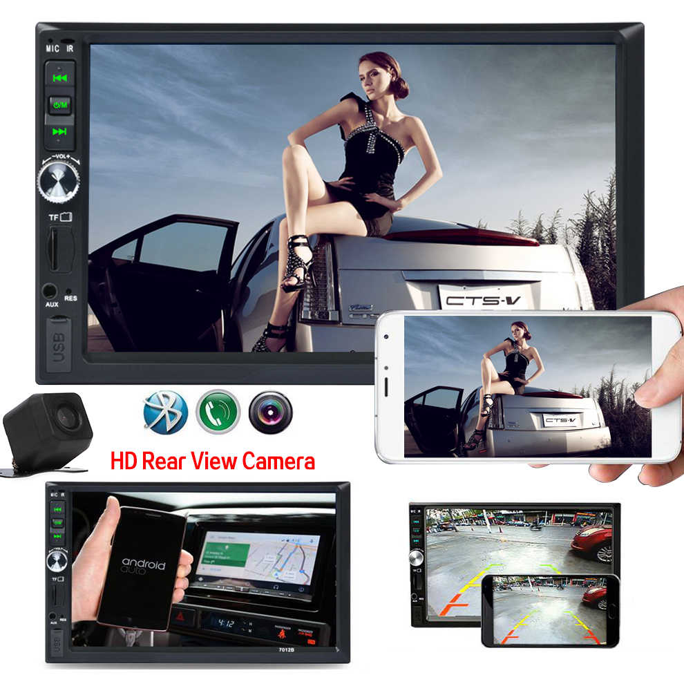 7 Inch HD Car 2 Channel MP5 MP4 Player Car FM Stereo Touch Screen with Reverse Camera Lens Link Support for Android and IOS