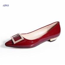 Малый М: 31 32 33 34 Плюс: 44 45 Весна/осень плоскодонные указал zapatos mujer носок мелкая рот стороны пряжки женская обувь