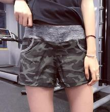 Women Yoga Shorts Sport Gym Shorts Dry Fit Elastic Fitness Shorts Workout Running Tight Sport Female With Pocket Camouflage