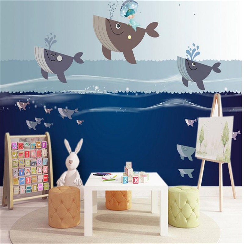 custom modern 3d effect fashion wallpaper bedroom living room kids room TV-set wall mural cartoon blue sea nordic wallpaper custom baby wallpaper snow white and the seven dwarfs bedroom for the children s room mural backdrop stereoscopic 3d