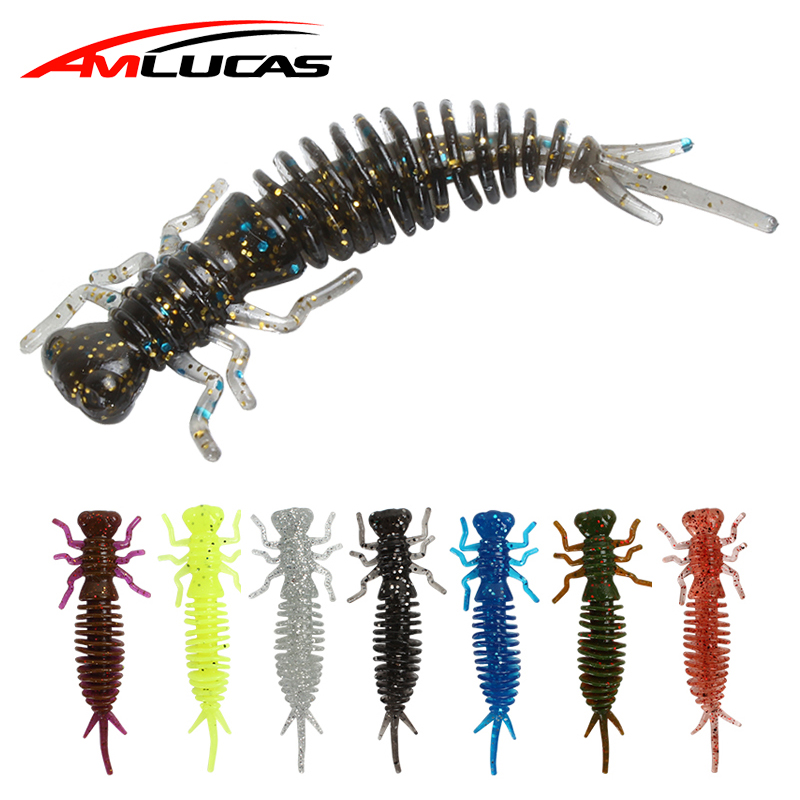 10pcs/lot Larva Soft Lures 55mm Silicone bait Fishing Lure Pesca and Artificial for Soft Lure Swimbait Trout Fishing Lure Worm