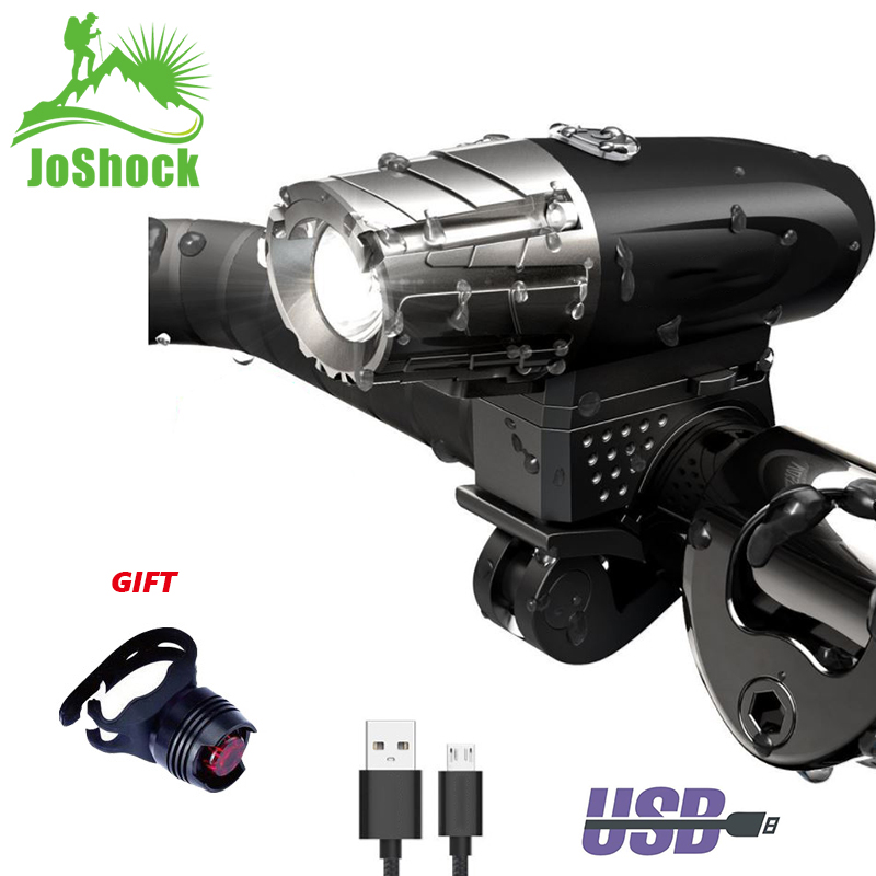 JoShock Waterproof Bike USB Recharge Front Handlebar Light Lamp 300 Lumen Warning Cycling Sets