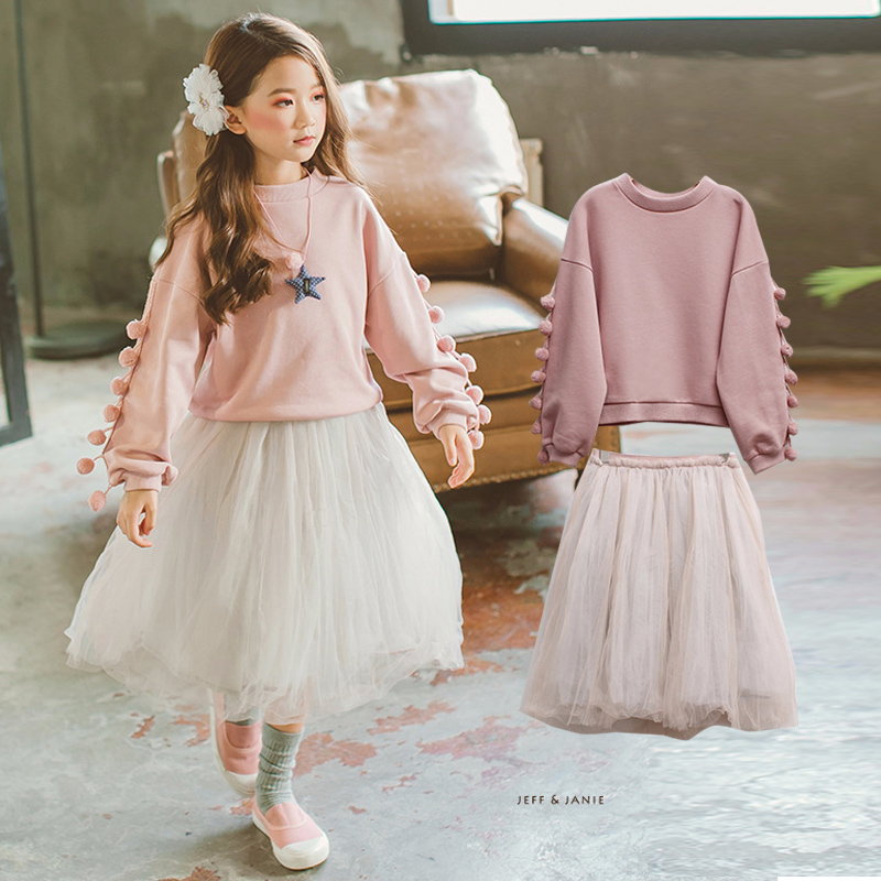 2018 New Kids Clothes Spring Toddler Girls Princess Clothes Set Cotton Children Clothing Sweatshirts + Skirts Boutique Suit 4-14