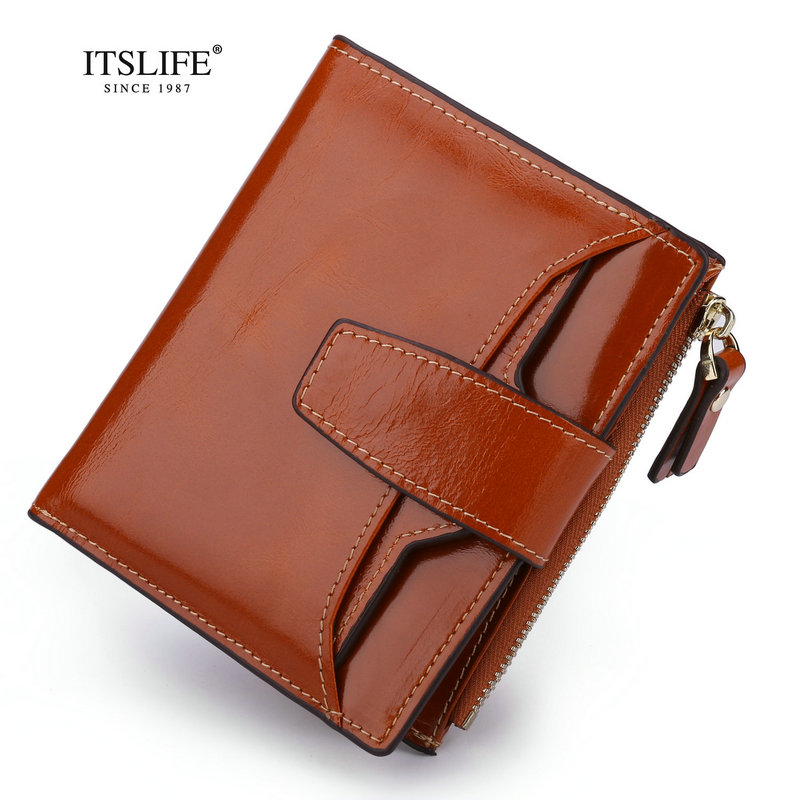 Itslife Genuine Leather Women Wallet Female Zipper Coin Purse Small Wallet Cowhide Card Holder Clamp For