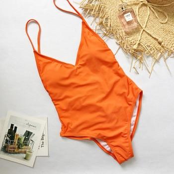 2019 Sexy Solid One Piece Swimsuit Bandage Swimwear Women Monokini Bodysuit High Cut Brazilian Vintage Bathing Suit Beach Wear 1