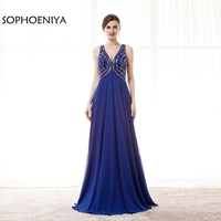 New Arrival Chiffon V Neck Royal Blue Evening Dresses 2018 Ever Pretty Long Evening Gowns Robe