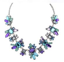 NanBo Bohemian Gem Flower Link Chain Necklace Choker Necklaces Statement New For Woman Free Shipping