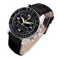 Мужчины спортивные часы двойной дисплей часы кожаный ремешок аналоговый цифровой СВЕТОДИОДНЫЙ часы модного бренда кварцевые наручные часы relógio masculino