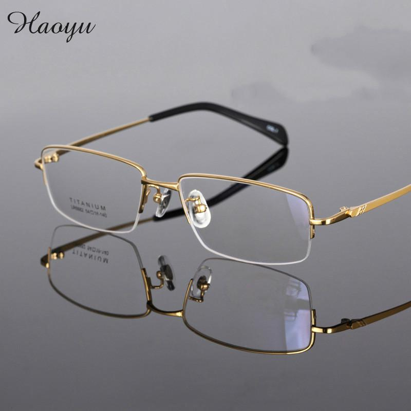 haoyu 2016 100% Pure Titan Eyeglasses Silver Gun Gray Gold Top Quality Gafas Men Titanium Glasses Frame Brand Optical Glasses